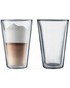 Bodum 400mL Canteen Large Double Wall Glass Set Twin Pack Transparent