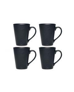 Noritake Black on Black 4pc Mug Set