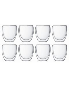 Bodum - Pavina 250mL Double Wall Glass 8 Pack - Transparent