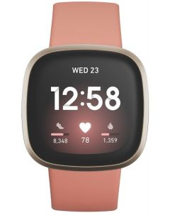 Fitbit Versa 3 Advanced Fitness Watch - Pink Clay/Soft Gold