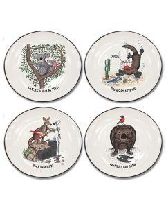 Squidinki Set of 4 Canapé Plates: Australian Animals