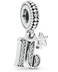 Pandora 16 Years of love Silver Hanging Charm w CZ Silver - 797261CZ