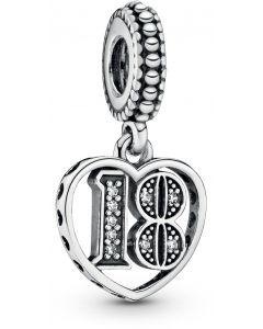 Pandora 18 Years of Love Silver Hanging Charm w CZ Silver -797262CZ