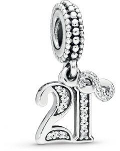 Pandora 21 Years of Love Silver Hanging Charm w CZ Silver - 797263CZ