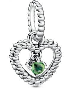 Pandora August Spring Green Heart Silver Hanging Charm with Man-Made Spring Green Crystal Silver - 798854C10