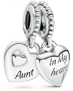 Pandora Aunt & Niece Heart Silver Hanging Charm Silver - 799188C00