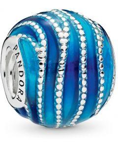 Pandora Blue Swirls Silver Charm w Blue & Aqua Enamel Silver - 797012ENMX