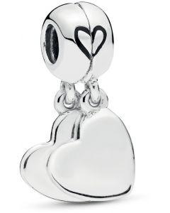 Pandora Mother & Son Love Silver Hanging Charm w Black Enamel Silver - 797777EN16