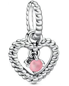 Pandora October Petal Pink Heart Silver Hanging Charm with Man-Made Petal Pink Crystal Silver - 798854C09