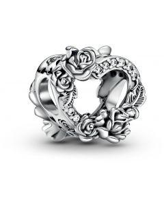 Pandora Open Heart & Rose Flowers Silver Charm w CZ Silver - 799281C01