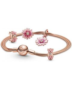 Pandora Pink Daisy Charm and Bracelet Set 19cm - RAU0860-19