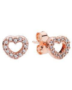 Pandora Rose Captured Hearts Earring Studs w Clear CZ Rose - 280528CZ