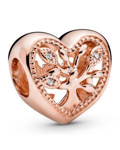 Pandora Rose Family Tree Heart Openwork Charm w CZ Rose - 788826C01