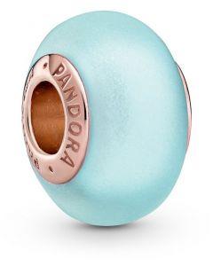 Pandora Rose Matte Blue Murano Glass Charm Rose - 789420C00
