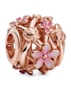 Pandora Rose Openwork Pink Daisy Flower Charm w White & Pink Enamel & CZ Rose - 788772C01