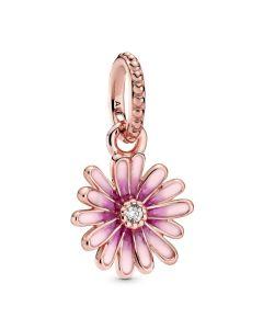Pandora Rose Pink Daisy Flower Hanging Charm w Pink Enamel & CZ Rose - 788771C01