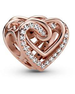 Pandora Rose Sparkling Entwined Hearts Charm w CZ Rose - 789270C01