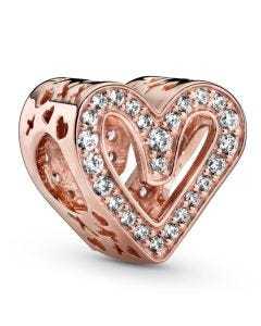 Pandora Rose Sparkling Freehand Hearts Charm w CZ Rose - 788692C01