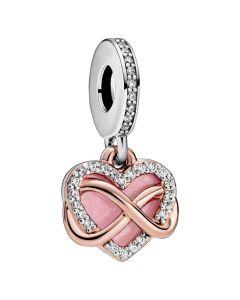 Pandora Sparkling Infinity Heart Hanging Charm w Pink Enamel & CZ Rose - 788878C01