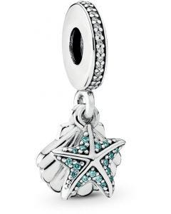 Pandora Tropical Starfish & Sea Shell Silver Hanging Charm w Mint & Clear CZ Silver - 792076CZF