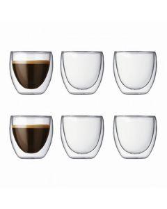 Bodum 80mL Pavina Extra Small Double Wall Glass Set 6 Pack Transparent