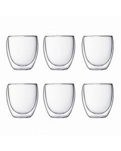 Bodum - Pavina 250mL Double Wall Glass 6 Pack - Transparent