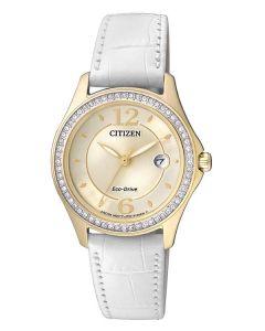 Citizen Ladies Gold Stainless Steel Eco-Drive Swarovski Dress Watch