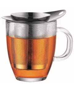 Bodum Mug glass and tea strainer 0.35 l 12 oz s/s