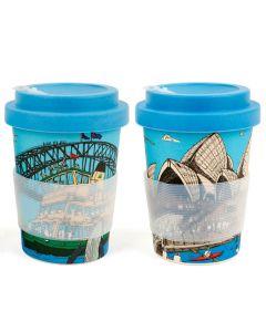 Squidinki Set of 2 Eco-bamboo Fibre Keep Cups: Sydney Harbour & Opera House