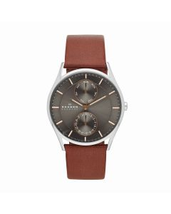 Skagen Men's Holst Multifunction Saddle Leather Strap Watch