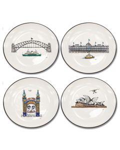 Squidinki Set of 4 Canapé Plates: Sydney Harbour