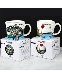 Squidinki Set of 2 Porcelain mugs: Sydney & Melbourne