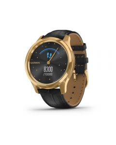 Garmin Vivomove Luxe, Pure Gold & Black Leather Watch