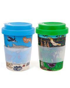 Squidinki Set of 2 Eco-bamboo Fibre Keep Cups: Australian Wildlife & Marine Life