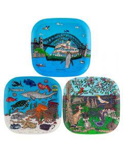 Squidinki Set of 3 Eco-bamboo Fibre Trays: Australian Wildlife, Marine Life and Sydney Harbour