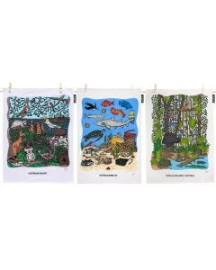 Squidinki Set of 3 Cotton/Linen Tea Towel: Australian Wildlife, Marine Life & Tropical Rainforest